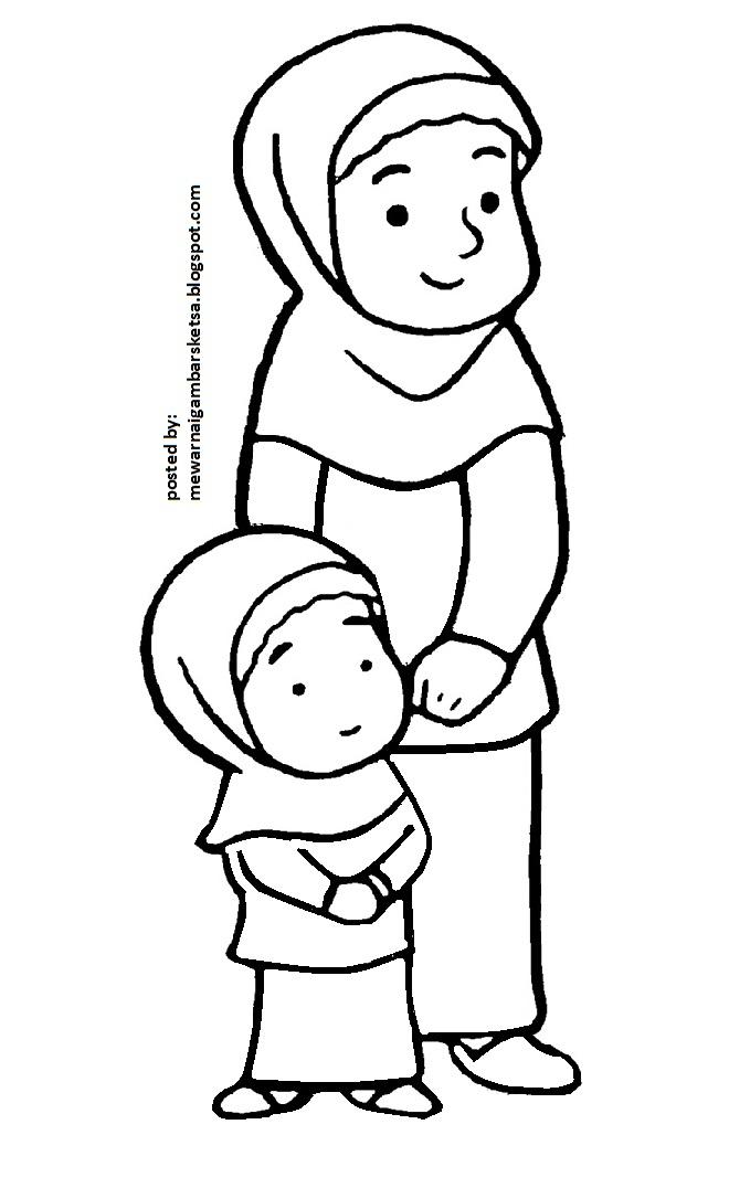 Mewarnai Gambar Mewarnai Gambar Ibu Menggendong Adik