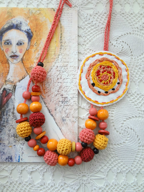 Sunrise Necklace – mixed media necklace
