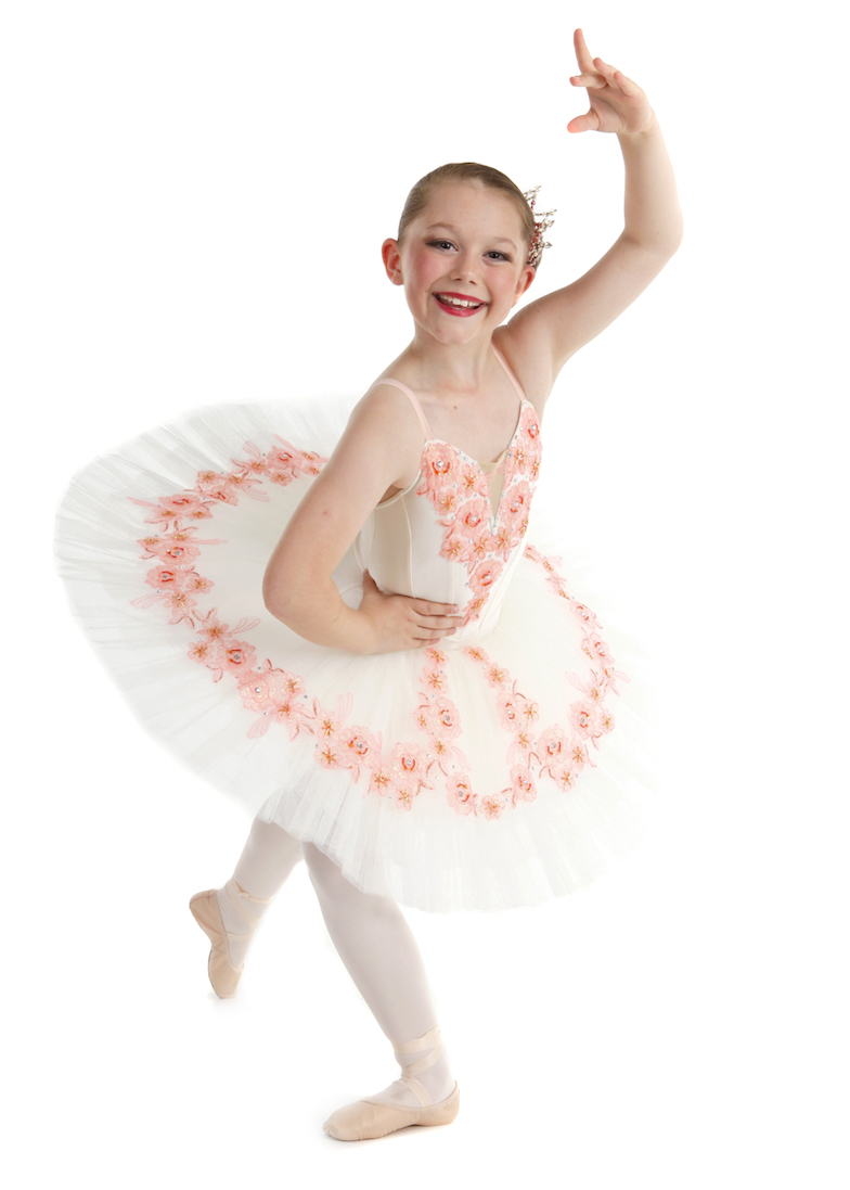 878ba5618e6a6d Lilli in her new tutu, cream base with apricot sequined lace and spotted  with diamantes.