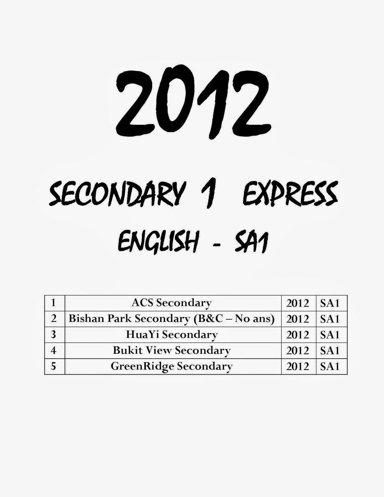 Top Primary School Exam Paper : Secondary 1