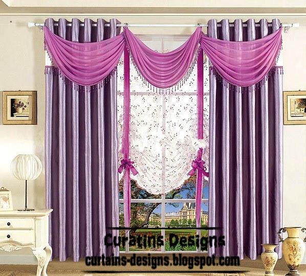 Stylish Purple Curtain Scarf With Stylish Shade Blackout