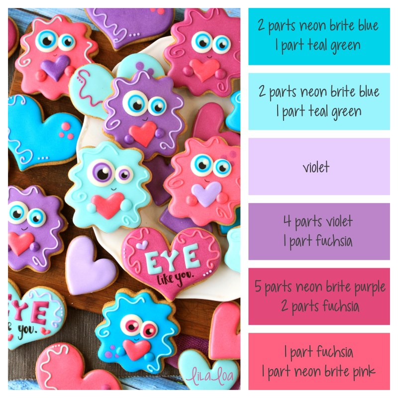 Decorated Valentine's Day sugar cookies and icing color palette and formulas