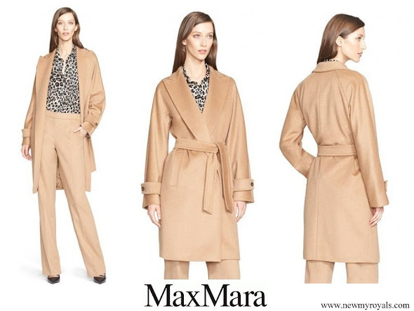 Queen Maxima wore Max Mara Megaton Co Camel Hair Wrap coat