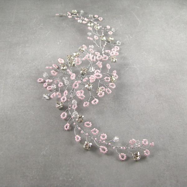 Gałązka ślubna - różowo srebrna.