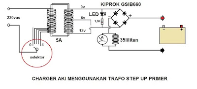 Skema Charger Aki menggunakan Trafo Step Up Primer