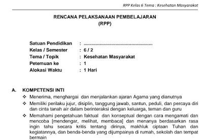 Download RPP SD Kelas VI Semester 2 Tema Kesehatan Masyarakat Kurikulum 2013 Format PDF