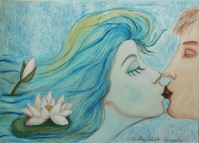 #Aide #Leit #AideLL #Wave #kiss #painting #art #blue #mixed media #romantic