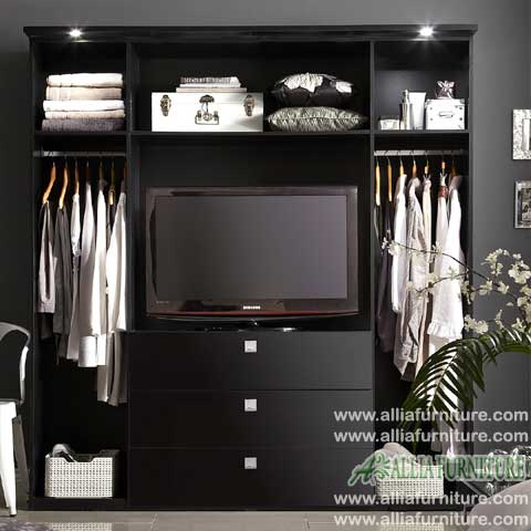 lemari pakaian tv minimalis model bold