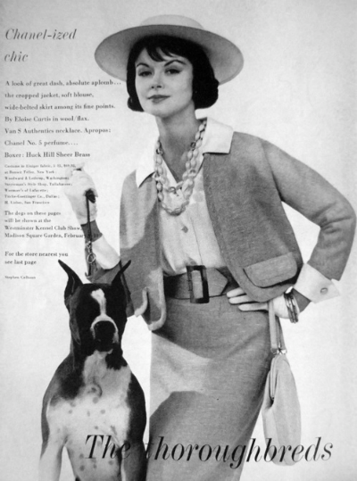 Magazine ad with model in Chanel suit with large dog. 1959 Mademoiselle Ad