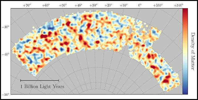 Map of dark matter made from gravitational lensing measurements of 26 million galaxies in the Dark Energy Survey. Red regions have more dark matter than average, blue regions less dark matter. (Chihway Chang/University of Chicago/DES collaboration)