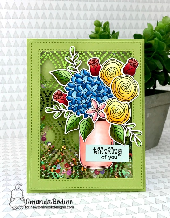 Newton's Nook Designs & Therm O Web Inspiration Week  | Floral Shaker Card by Amanda Bodine | Lovely Blooms Stamp Set by Newton's Nook Designs #newtonsnook #handmade #thermoweb