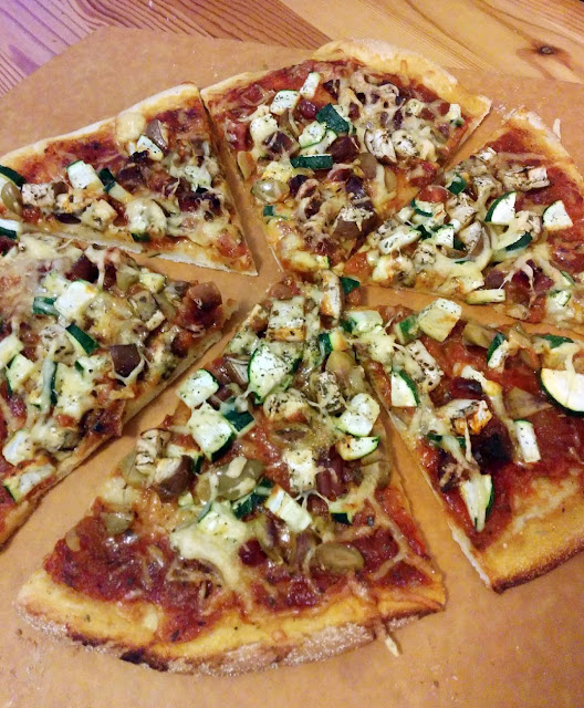 Homemade pizza with sausage
