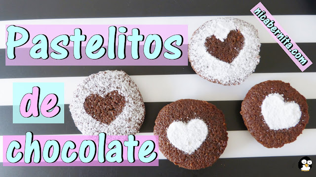 Pasteles de chocolate, pastelitos de chocolate negro. Receta de postre con chocolate. ¡Muy fácil! Nica Bernita