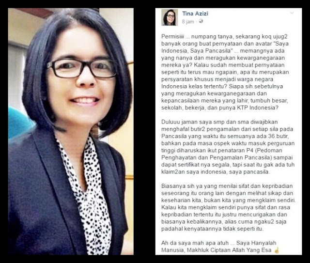"Makjleb! Tina Azizi: Yang Ngaku-ngaku ""Saya Indonesia, Saya Pancasila"" Biasanya Malah Sebaliknya"