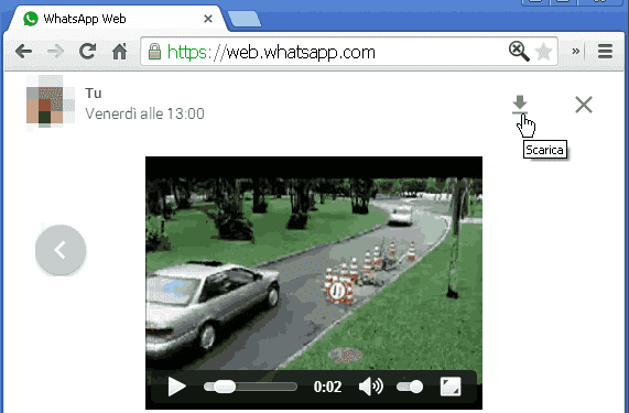 WhatsApp Web su PC scaricare video e foto