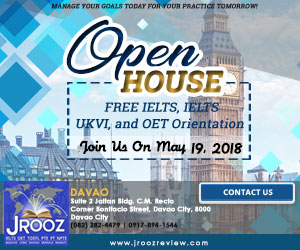 JROOZ IELTS/UKVI/OET One Day Promo  Join us on May 19, 2018   Free IELTS / IELTS UKVI / OET Orientation  IELTS: – 500 Off on Review Fee and Exam Fee A total of 1000 Off for IELTS/IELTS UKVI  OET: – 500 Off on Review Fee for OET plus – Receive free assistance in exam registration and – 50% Reimbursement Fee for OET exam coming from our Partner Recruitment Agencies (OFFER IS EXCLUSIVE TO JROOZ STUDENTS)