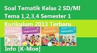 Soal Tematik Kelas 2 SD/MI Tema 1,2,3,4 Semester 1 Kurikulum 2013 Terbaru