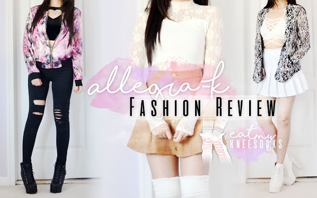 I'm so excited to be reviewing three lovely items from Allegra-K, a growing online fashion retailer that carries tons of affordably-priced styles that are hard to find anywhere else! In this review I'll be going into detail about three of my favorites from their site, including a silky floral bomber jacket, buttoned faux suede a-line skirt, and semi-sheer floral lace blazer. - Eat My Knee Socks / Mimchikimchi