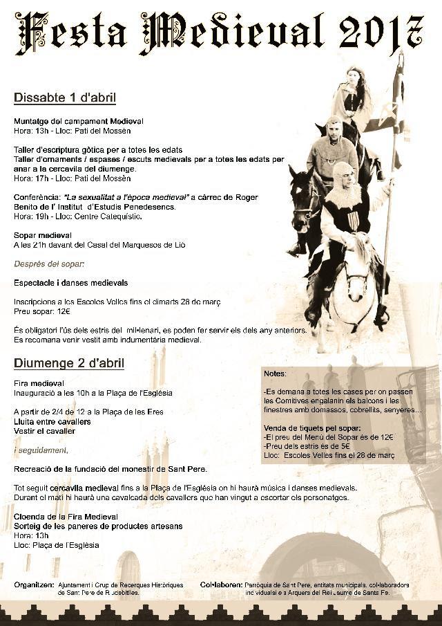 Esguard de Dona - Programa de la Festa Medieval 2017 de Sant Pere de Riudebitlles que se celebra els dies 1 i 2 d'abril