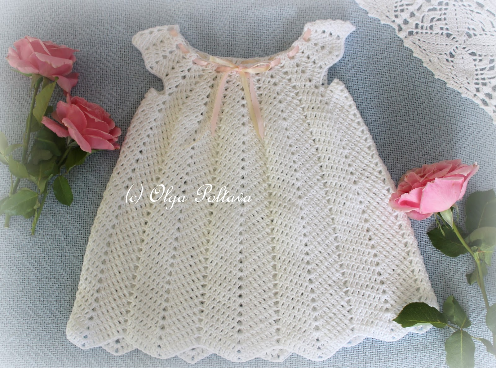 Lacy Crochet: White Ripple Baby Dress, Size 12-18 Months, Crochet ...