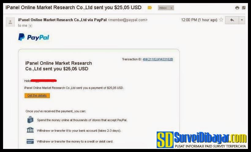 Bukti pembayaran dari iPanelOnline via PayPal | SurveiDibayar.com