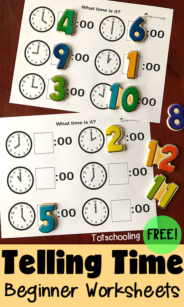 FREE Clock to digital time matching worksheets to introduce telling time by the hour. Perfect for preschoolers learning to read a clock. Can be done by matching numbers or writing numbers in the boxes.