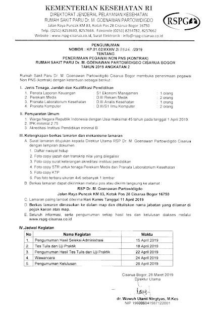 Lowongan Kerja Rumah Sakit Dr.M.Goenawan Partowidigdo Cisarua Bogor Tahun 2019 Angkatan 2