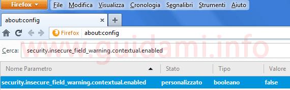 Firefox parametro aboutconfig per disattivare notifica questa connessione non è sicura