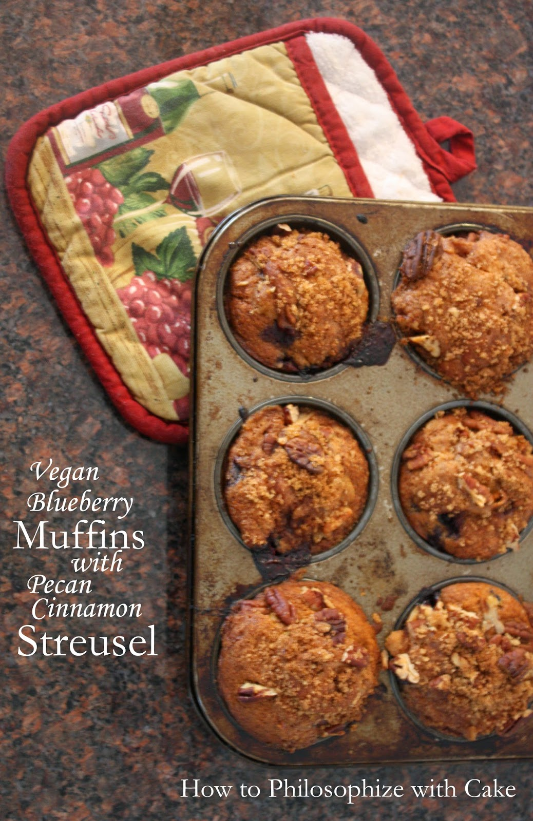 vegan blueberry muffins with pecan streusel