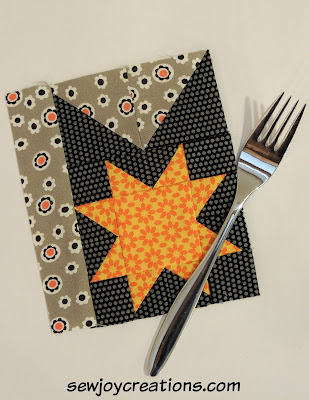 patchwork fork utensil block with pieced star