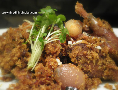 Modern Indian food picture of wood pigeon recipe