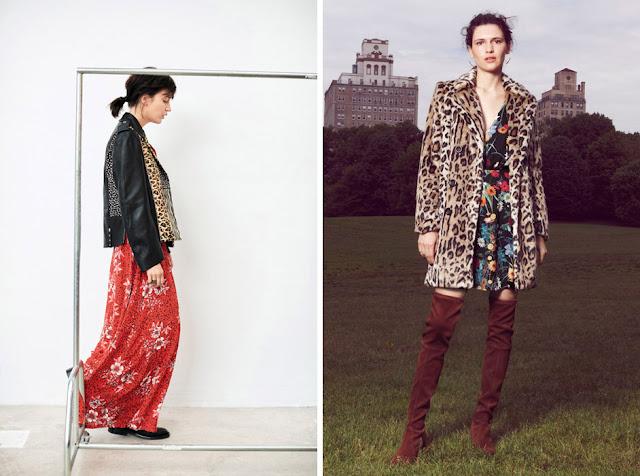 Сочетание леопардовой куртки и пальто с платем с цветочным принтом