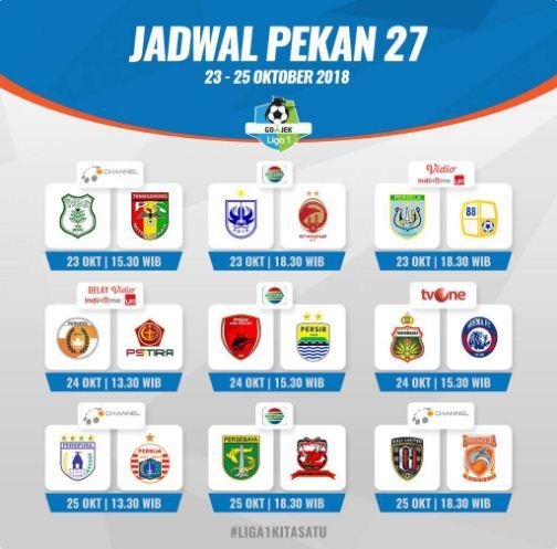 Jadwal Liga 1 2018 Pekan 27
