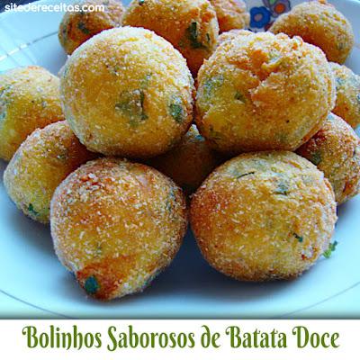 Bolinhos saborosos de batata-doce