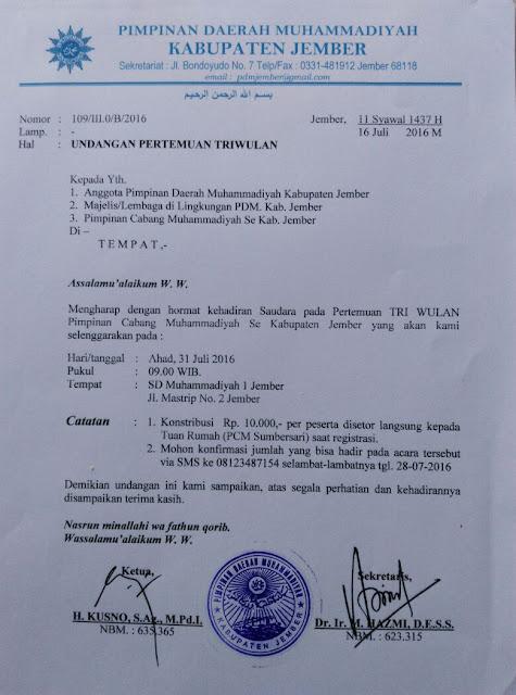 Undangan Triwulan PDM Kab. Jember Juli 2016