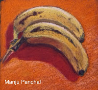 soft pastel painting of bananas by Manju Panchal