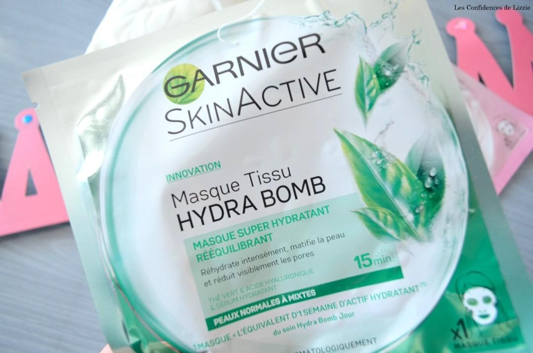 Garnier - masque en tissu - mon avis sur les masques en tissus Hydra Bomb - Skin Active - beauté