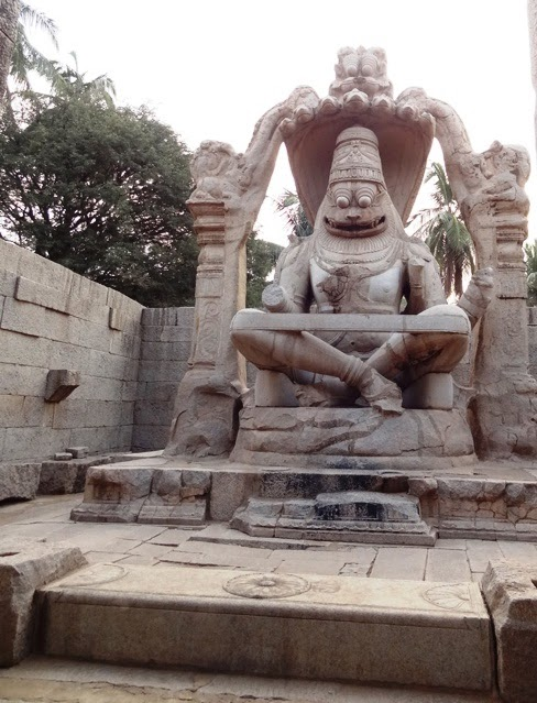 10 best sculptures of ancient India - Ugra Narasimha with serpent hood - Hampi