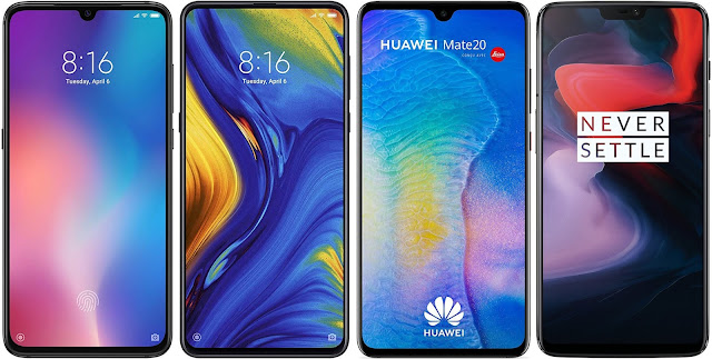 Xiaomi Mi 9 64G vs Xiaomi Mi Mix 3 128G vs Huawei Mate 20 128 GB vs OnePlus 6 128 GB