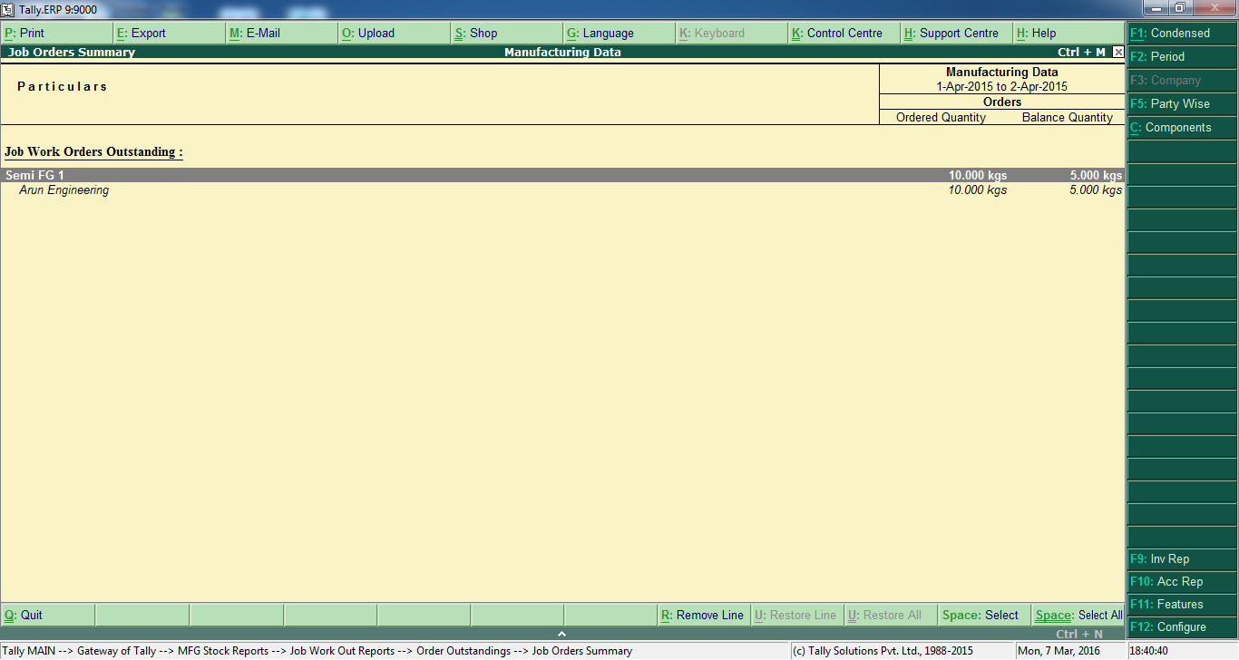Tally Erp9 Manufacturing Suite  Free Tally Manufacturing Suite
