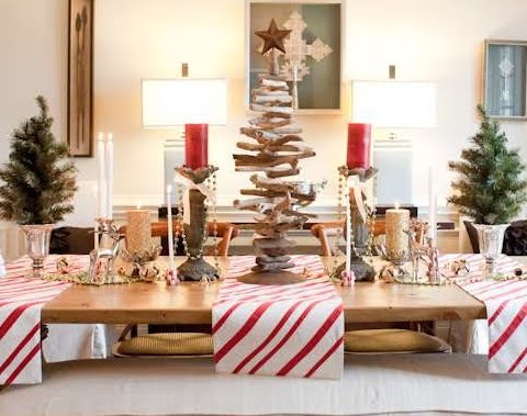 driftwood tree as Christmas table centerpiece