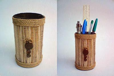 tempat pensil dari bambu