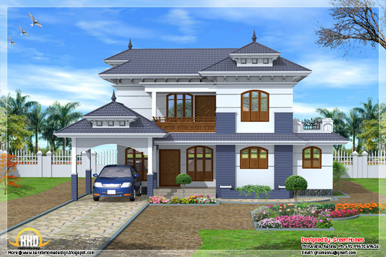 2235 square feet, 4 bedroom Kerala style home design