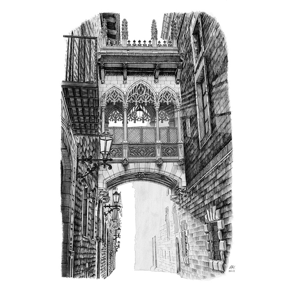 01-Pont-del-Bisbe-Barcelona-Spain-Elizabeth-Mishanina-Architecture-Immaculate-Drawing-Technique-www-designstack-co