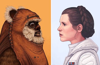"Star Wars ""Wicket"" & ""Princess Leia in Hot Gear"" Portrait Prints by Mike Mitchell x Mondo"