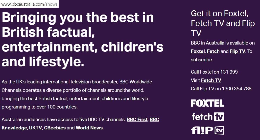 netgemiene: BBC in Australia is available on Flip TV (Netgem