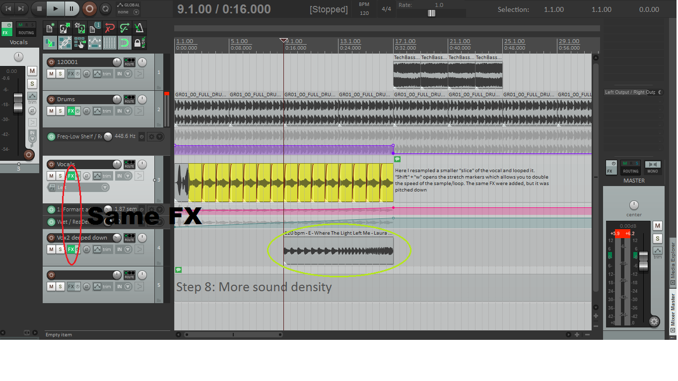 Making a Rising Section with Vocal Stuttering, in REAPER