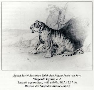 Lukisan Karya Raden Saleh dengan Judul Harimau Betina yang sedang menyusui