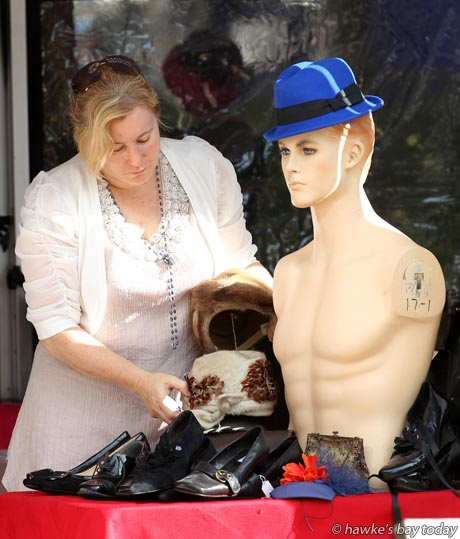 Wendy Bongard, Hats Off, Napier, setting up her stand at Madness in the Mall, an Art Deco event in the Hastings Mall, Hastings CBD, Hastings. photograph