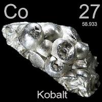 Kobalt elementi üzerinde kobaltın simgesi, atom numarası ve atom ağırlığı.